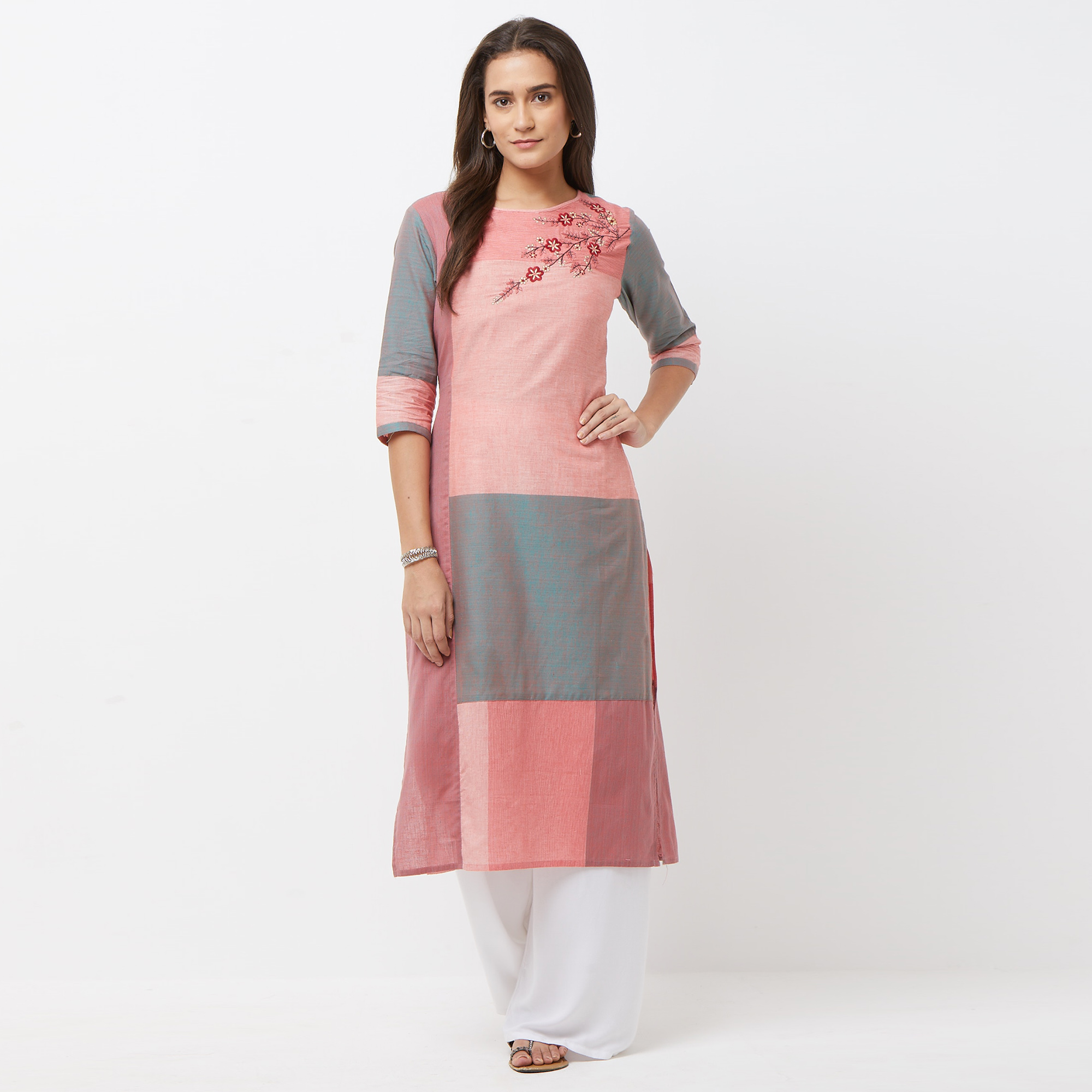 Mesmeric Multi Colored Casual Floral Embroidered Cotton Kurti