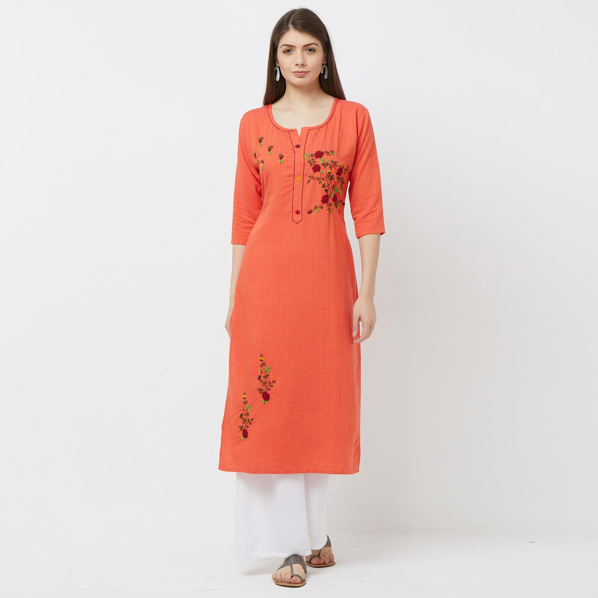 Refreshing Gajari Colored Casual Floral Embroidered Cotton Kurti