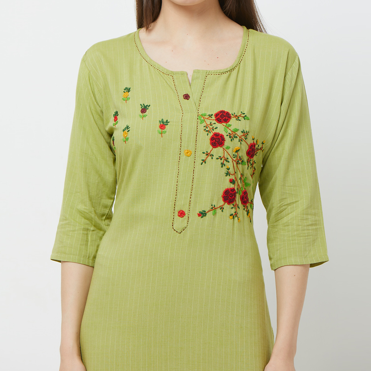 Magnetic Green Colored Casual Floral Embroidered Cotton Kurti
