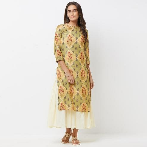 Flattering Off White-Green Colored Partywear Printed Cotton Long Kurti