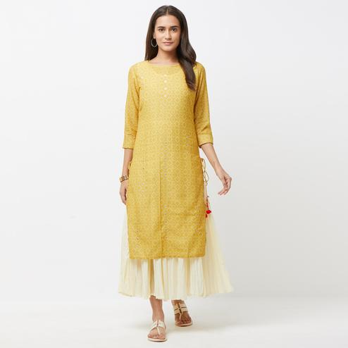 Preferable Off White-Mustard Yellow Colored Partywear Printed Cotton Long Kurti