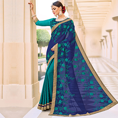 Blue and Green Floral Embroidered Work Half And Half Chiffon Saree