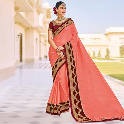 Peach Embroidered Border Work Party Wear Chiffon Saree