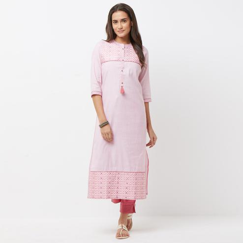 Pretty Pink Colored Partywear Printed Cotton Kurti-Bottom Set