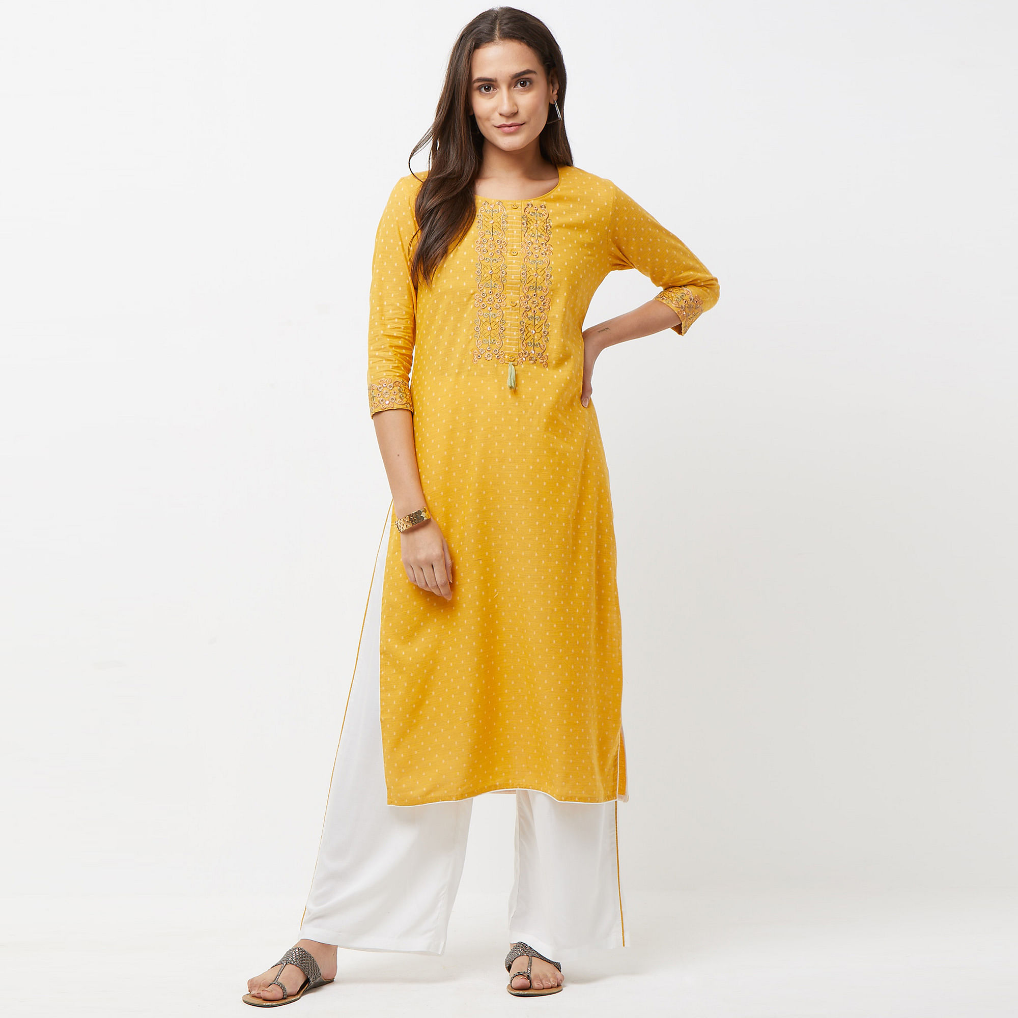 Mesmerising Mustard Yellow Colored Partywear Printed Cotton Kurti-Bottom Set