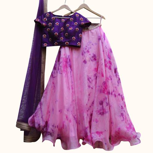 Amazing Purple Colored Partywear Embroidered Satin Lehenga Choli