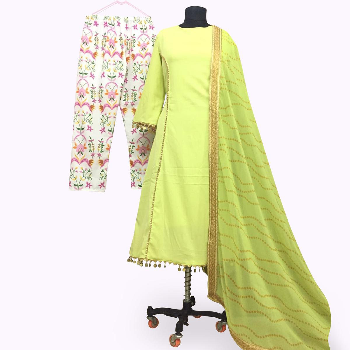 Elegant Green Colored Partywear Crepe Silk Palazzo Suit