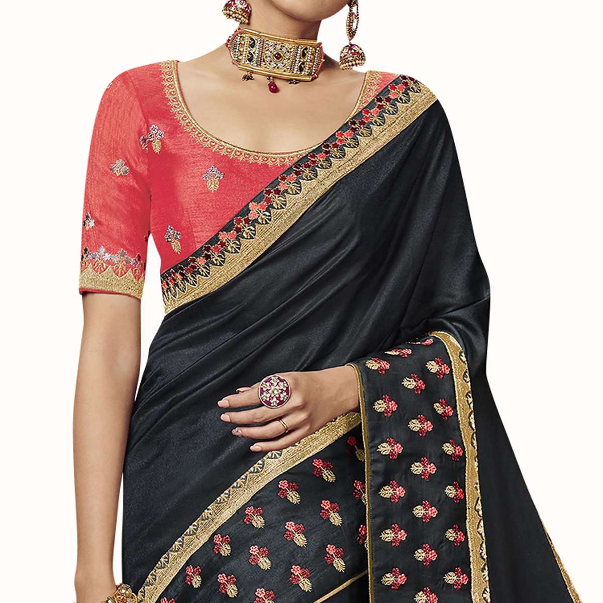 Trendy Black Colored Partywear Embroidered Satin Silk Saree