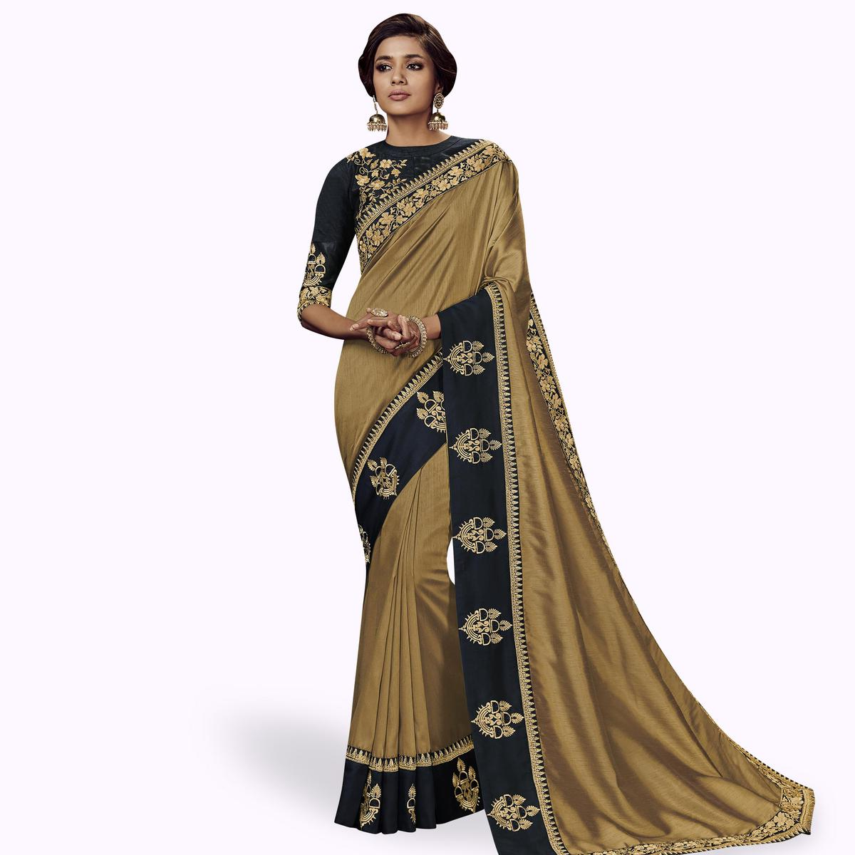 Radiant Chiku Colored Partywear Embroidered Satin Silk Saree