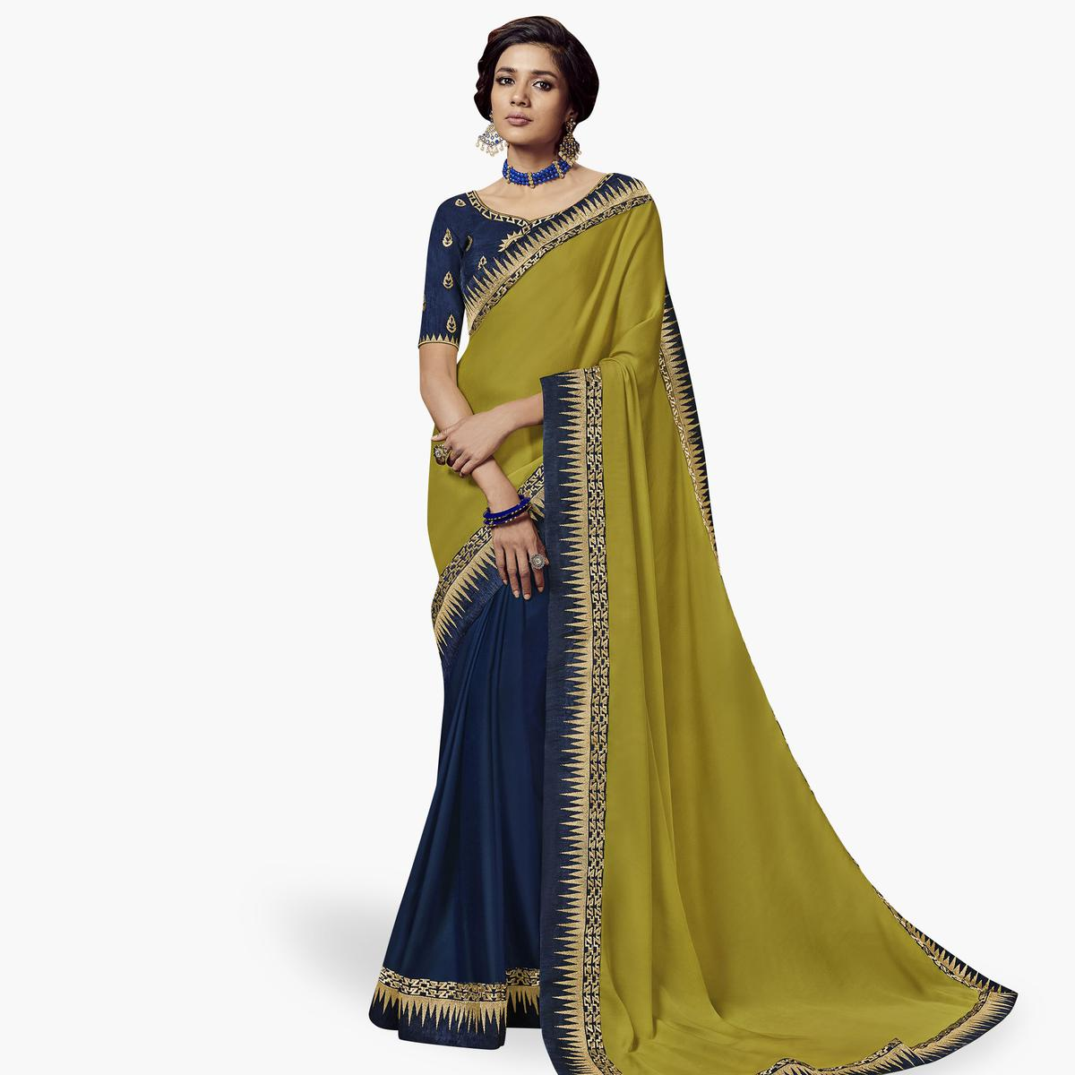 Pleasant Green-Navy Blue Colored Partywear Embroidered Satin Silk Saree