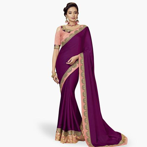 Opulent Violet Colored Partywear Embroidered Satin Silk Saree