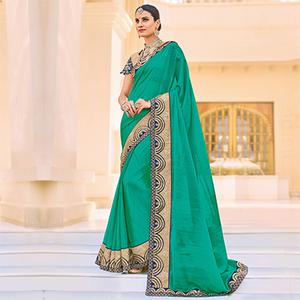 Green Embroidered Work Border Party Wear Chiffon Saree