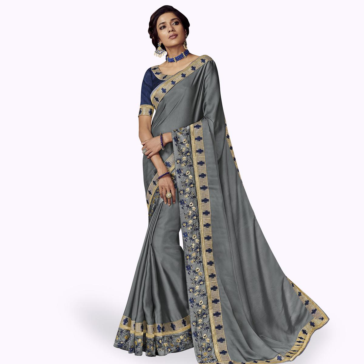 Energetic Gray Colored Partywear Embroidered Satin Silk Saree