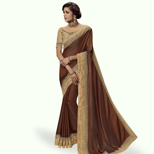 Glowing Brown Colored Partywear Embroidered Satin Silk Saree