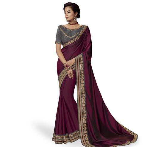 Unique Wine Colored Partywear Embroidered Satin Silk Saree