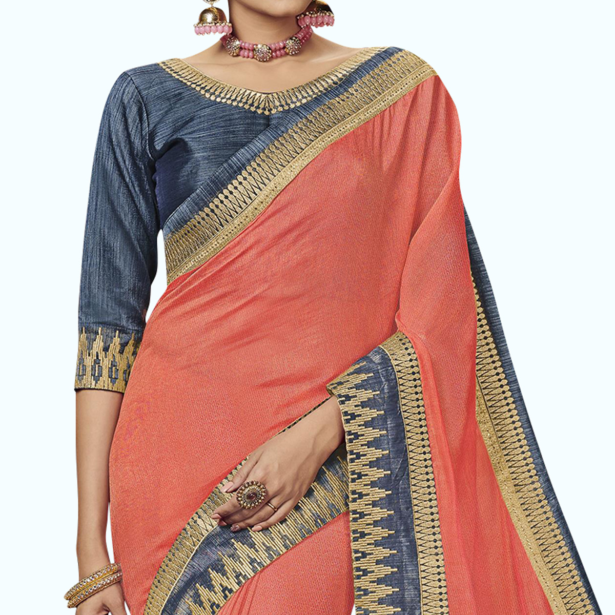 Demanding Peach Colored Partywear Embroidered Satin Silk Saree
