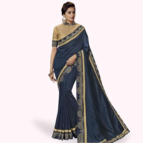 Refreshing Grayish Blue Colored Partywear Embroidered Satin Silk Saree
