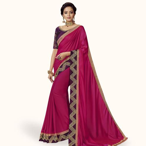Magnetic Pink Colored Partywear Embroidered Satin Silk Saree