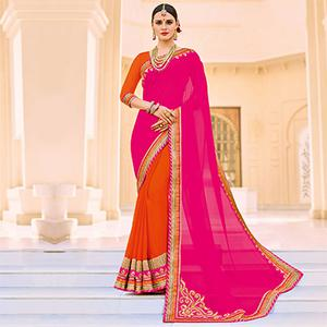 Pink and Orange Party Wear Georgette Saree