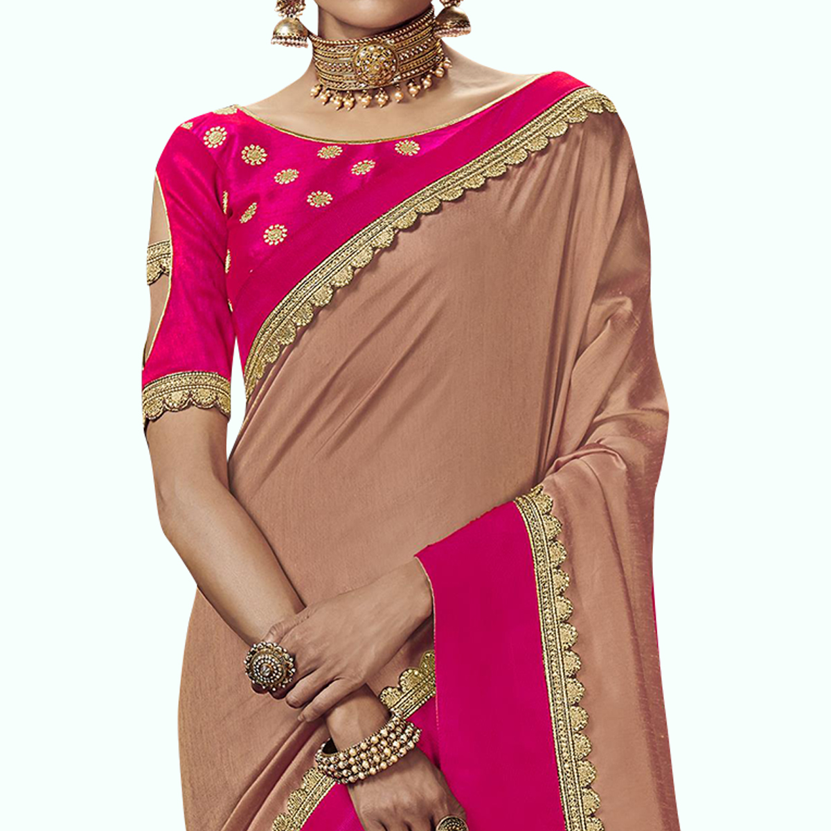 Flattering Pastel Peach Colored Partywear Embroidered Satin Silk Saree