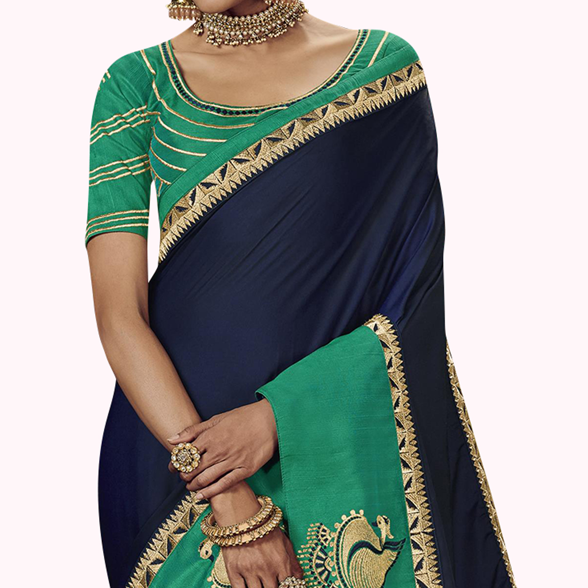 Excellent Navy Blue Colored Partywear Embroidered Satin Silk Saree