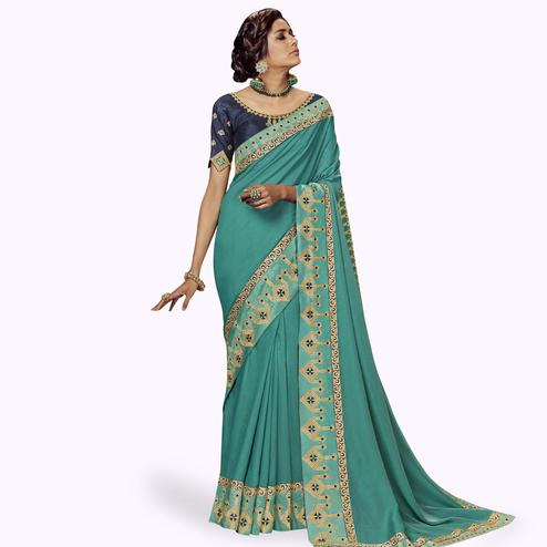 Preferable Sky Blue Colored Partywear Embroidered Satin Silk Saree