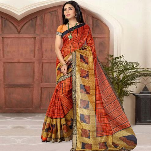 Attractive Orange Colored Casual Printed Cotton Silk Saree