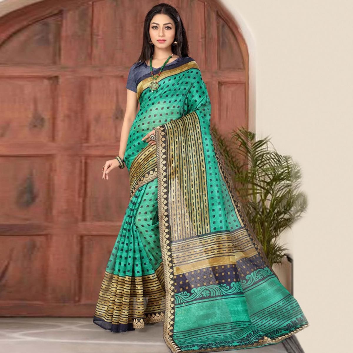 Beautiful Green Colored Casual Printed Cotton Silk Saree