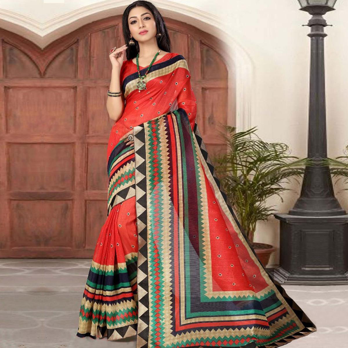 Eye-Catching Red Colored Casual Printed Cotton Silk Saree