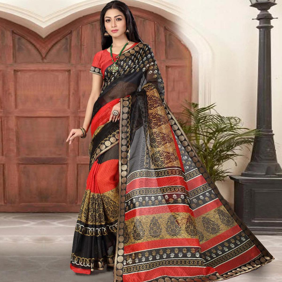 Blooming Black-Multi Colored Casual Printed Cotton Silk Saree
