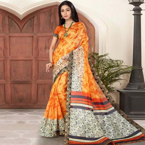 Demanding Yellow Colored Casual Printed Cotton Silk Saree