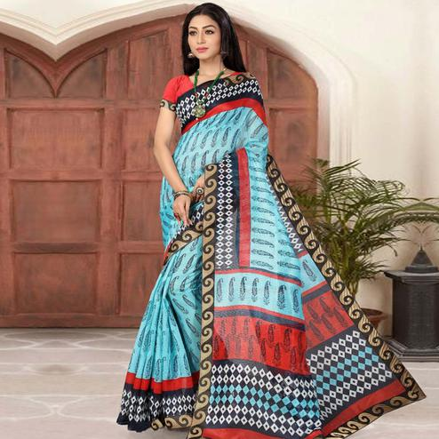 Gleaming Sky Blue Colored Casual Printed Cotton Silk Saree