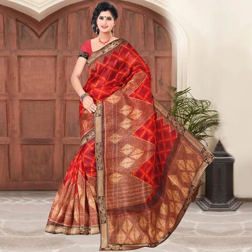 Classy Red Colored Casual Printed Cotton Silk Saree