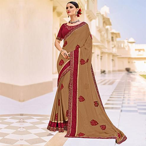 Beige Embroidered Work Party Wear Chiffon Saree