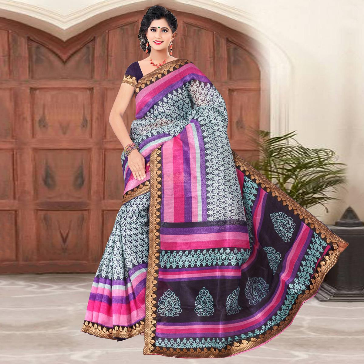 Impressive White-Multi Colored Casual Printed Cotton Silk Saree