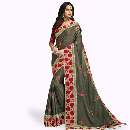 Blooming Gray Colored Partywear Embroidered Satin Silk Saree