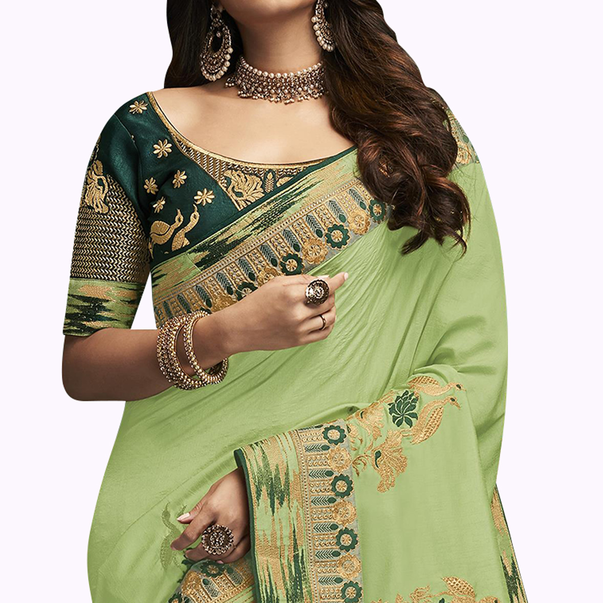 Delightful Light Green Colored Partywear Embroidered Satin Silk Saree