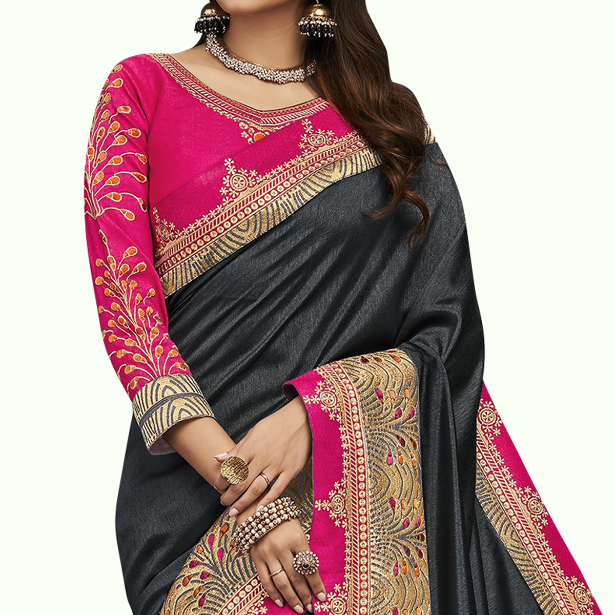 Captivating Black Colored Partywear Embroidered Satin Silk Saree