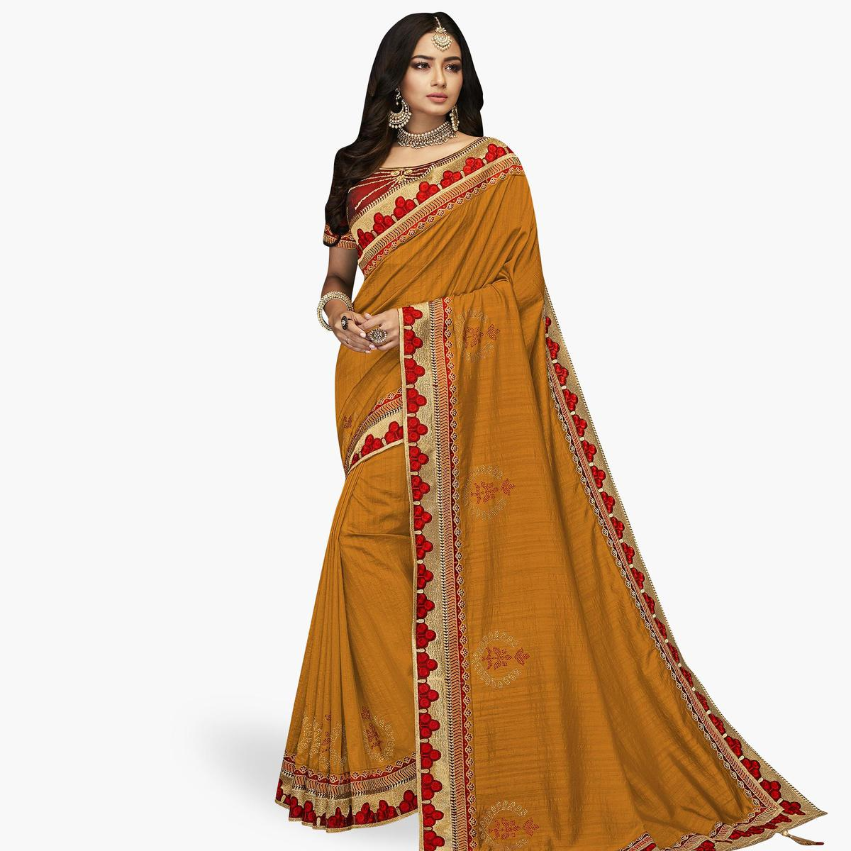 Eye-catching Mustard Yellow Colored Partywear Embroidered Satin Silk Saree