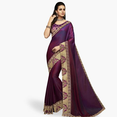 Fantastic Purple Colored Partywear Embroidered Satin Silk Saree