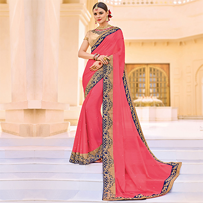 Pink Embroidered Work Border Party Wear Chiffon Saree