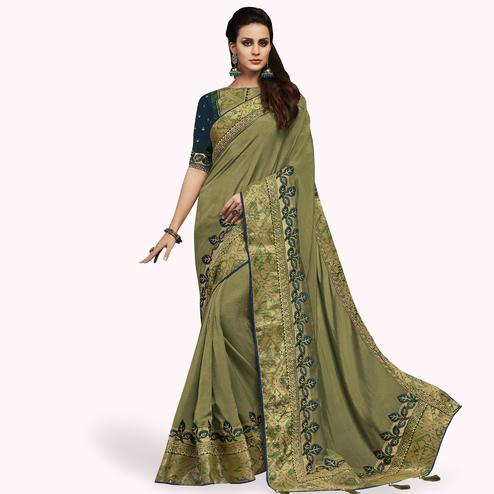 Amazing Olive Green Colored Partywear Embroidered Satin Silk Saree