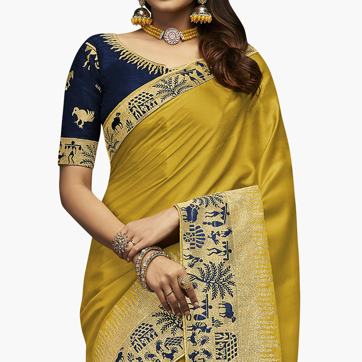 Blissful Lemon Green Colored Partywear Embroidered Satin Silk Saree