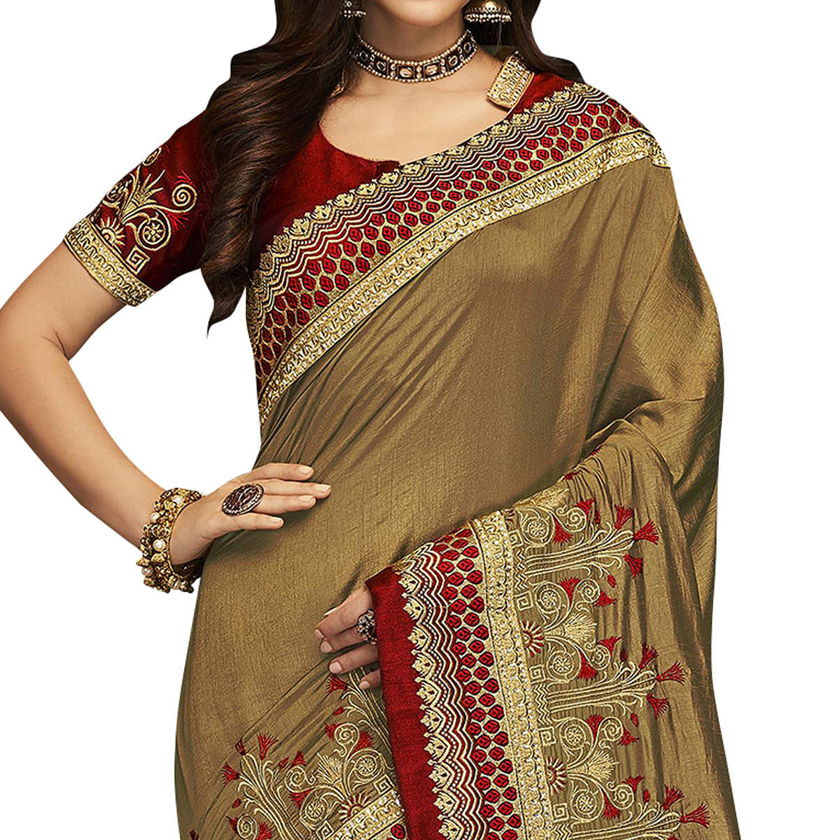 Majesty Chiku Colored Partywear Embroidered Satin Silk Saree