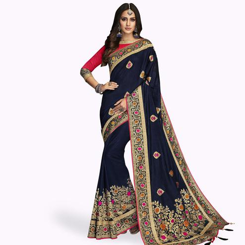 Mesmerising Navy Blue Colored Partywear Embroidered Satin Silk Saree