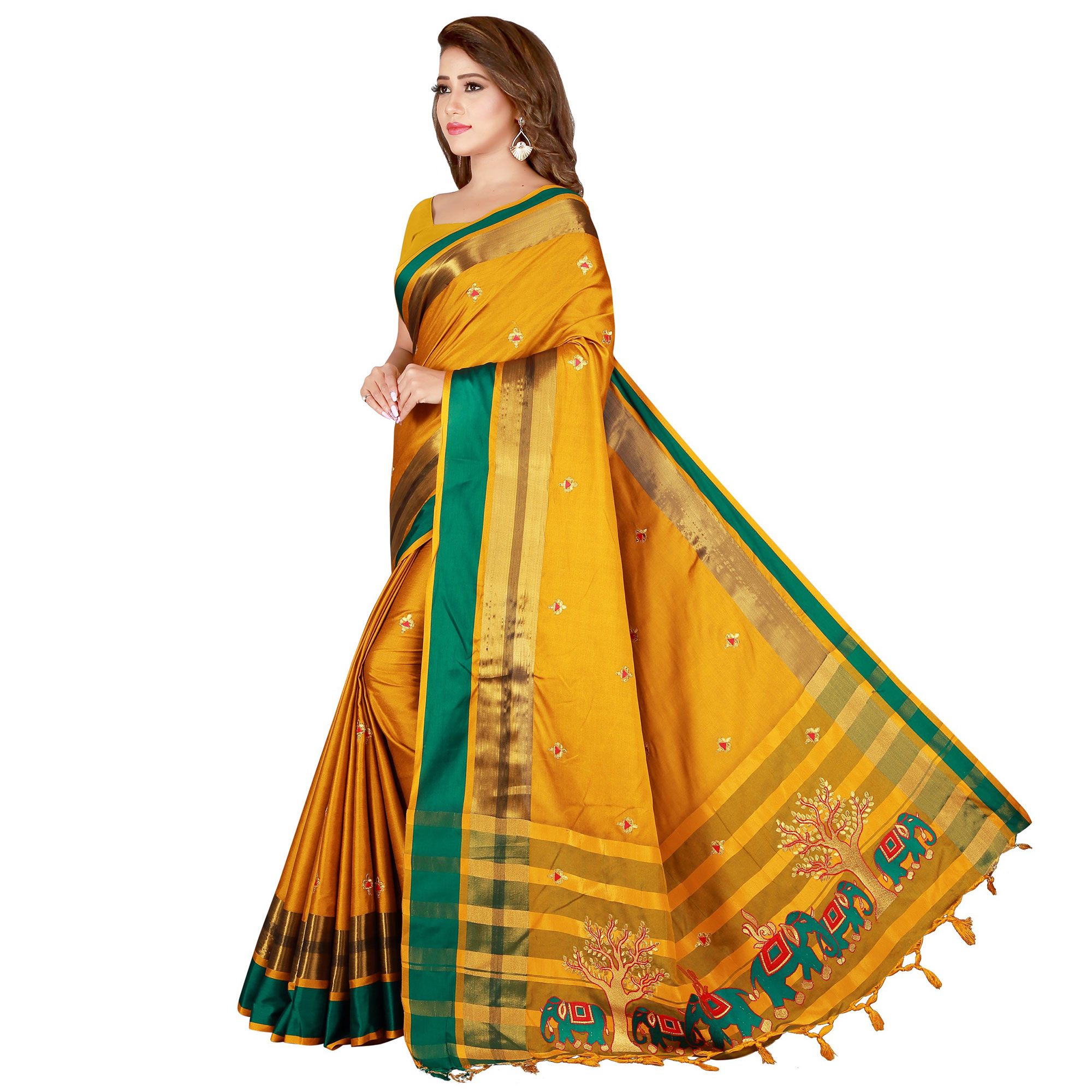 Ideal Yellow Colored Festive Wear Embroidered Cotton Saree