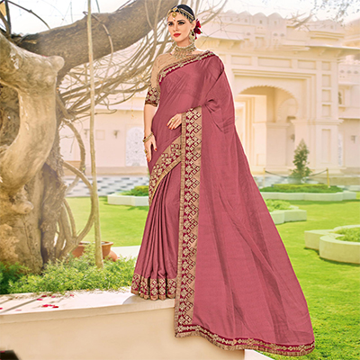 Gajri Color Floral Embroidered Work Border Chiffon Saree