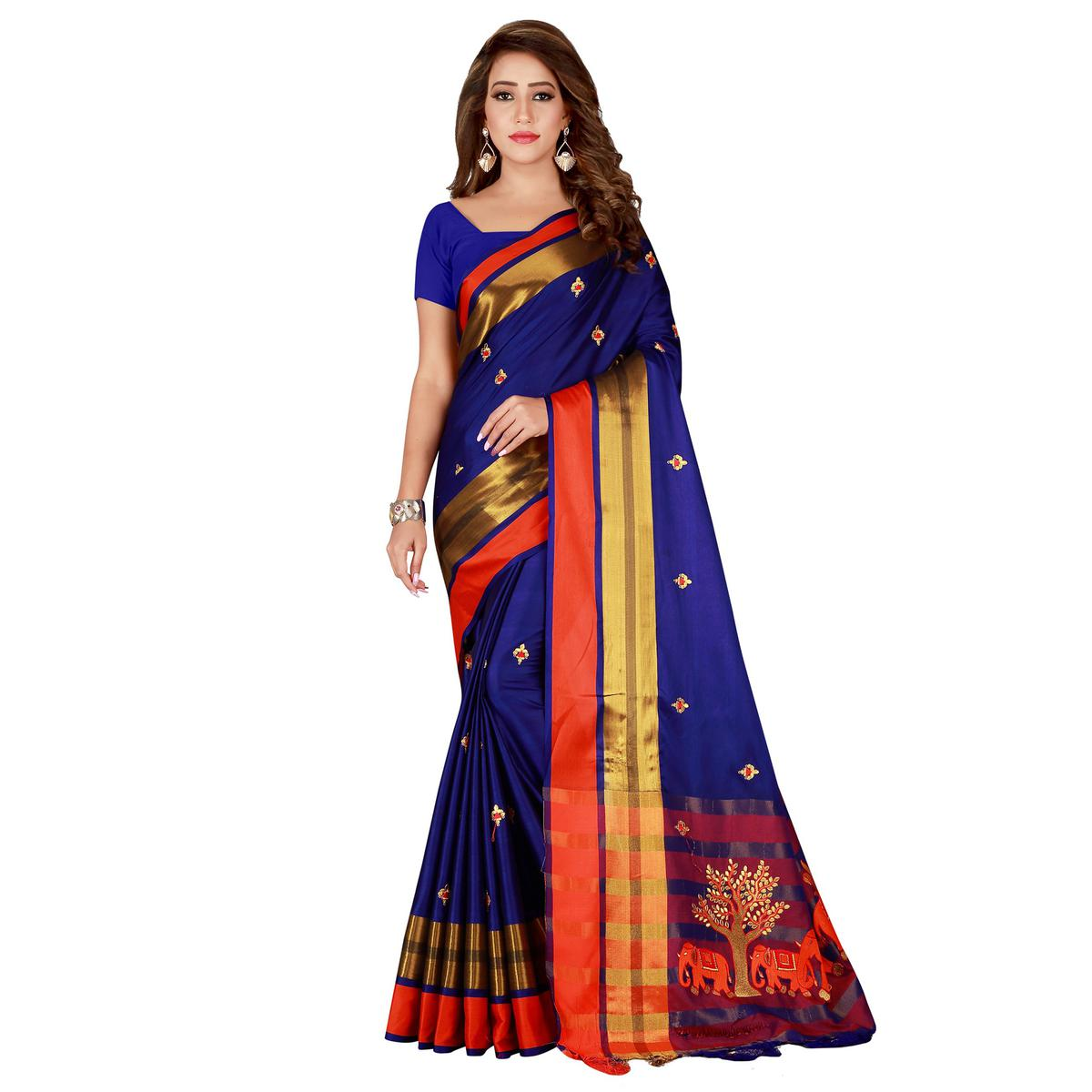 Imposing Navy Blue Colored Festive Wear Embroidered Cotton Saree