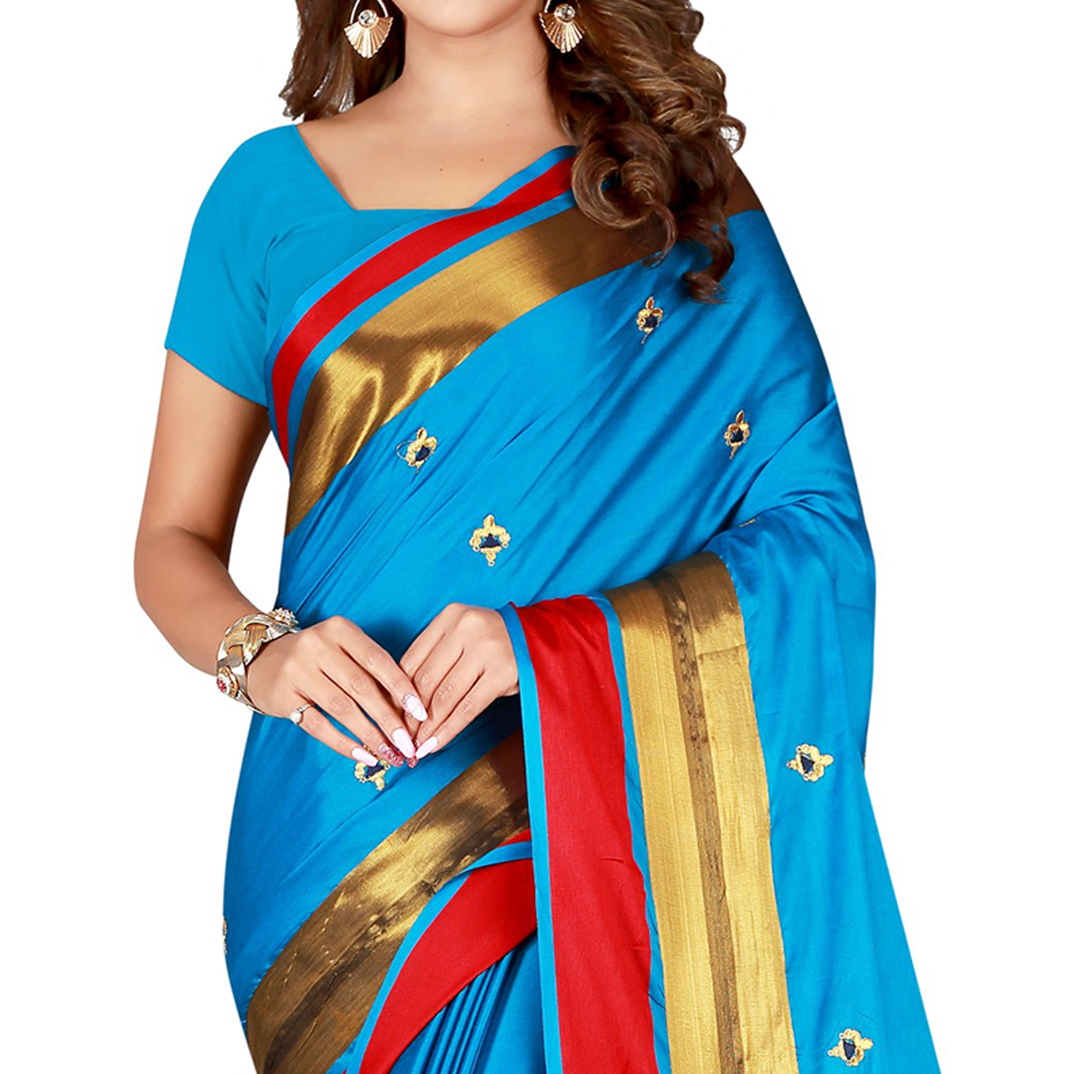 Lovely Firozi Colored Festive Wear Embroidered Cotton Saree