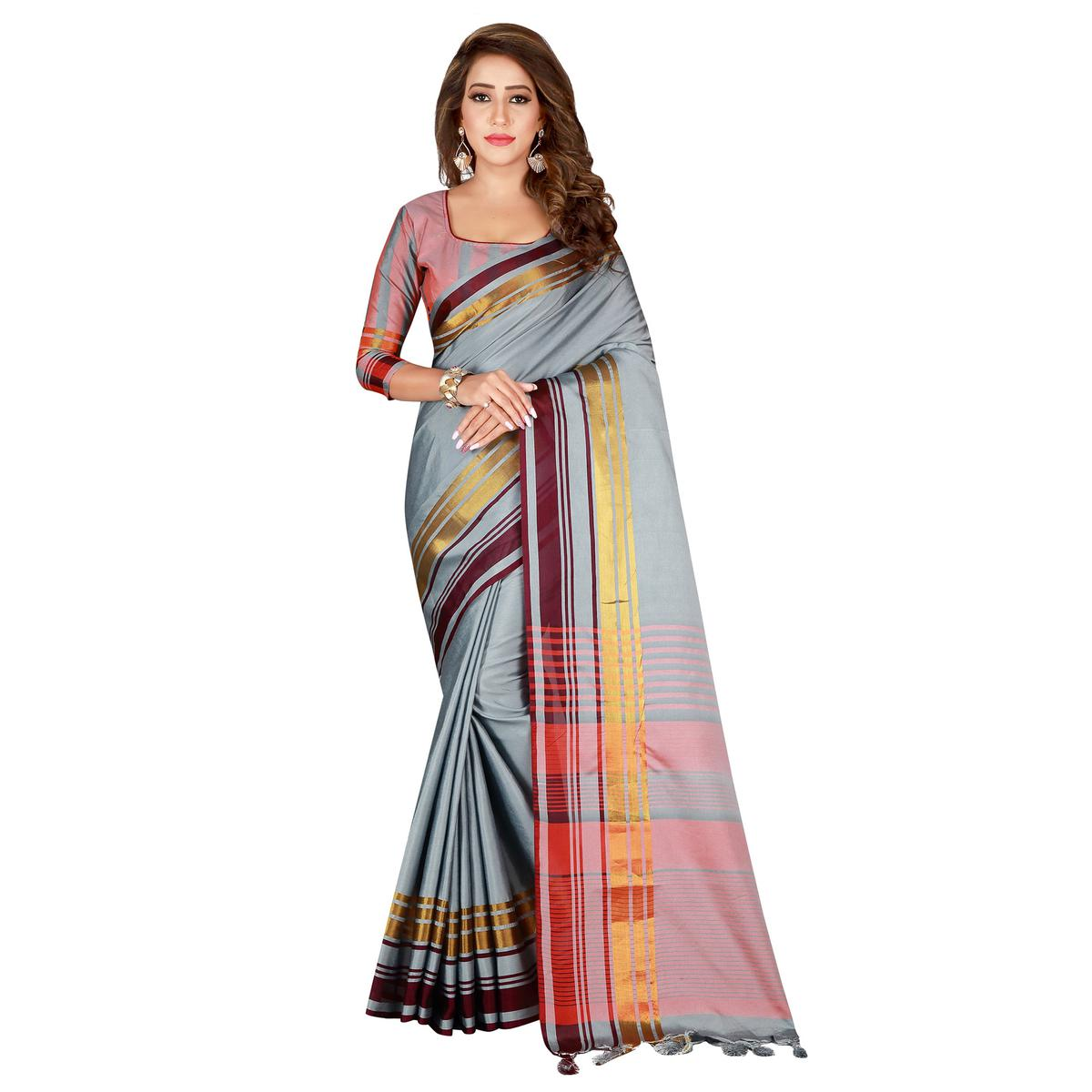 Blooming Light Gray Colored Casual Wear Cotton Saree